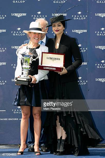 Catherine Dettori and actress Aishwarya Rai attend the 'Prix de Diane 2015' at Hippodrome de Chantilly on June 14 2015 in Chantilly France