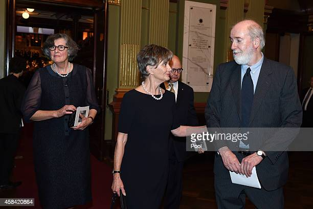 Catherine Dovey along with Kim Williams and Stephen Whitlam depart following the state memorial service for former Australian Prime Minister Gough...