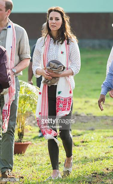 Catherine, Duchess of Cambride arrives for an open-air jeep on safari around the National Park at Kaziranga National Park on April 13, 2016 in...