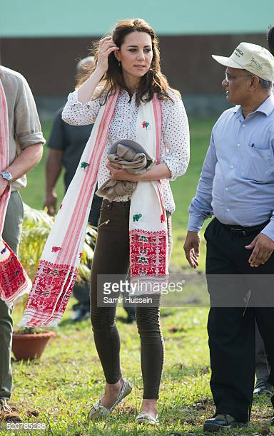 Catherine Duchess of Cambride arrives for an openair jeep on safari around the National Park at Kaziranga National Park on April 13 2016 in Guwahati...