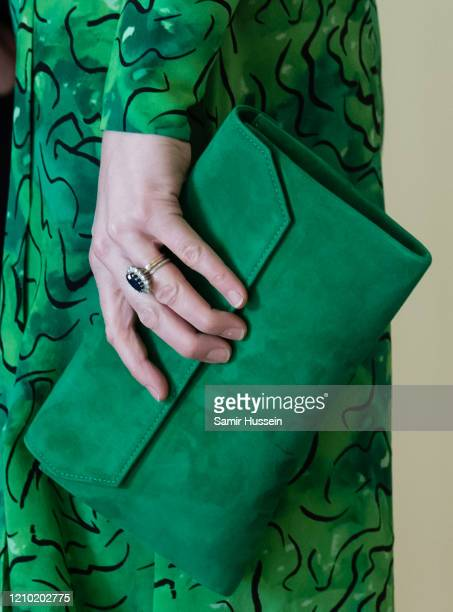 Catherine Duchess of Cambridg bag detail arrives for a meeting with the President of Ireland at Áras an Uachtaráin on March 03 2020 in Dublin Ireland...