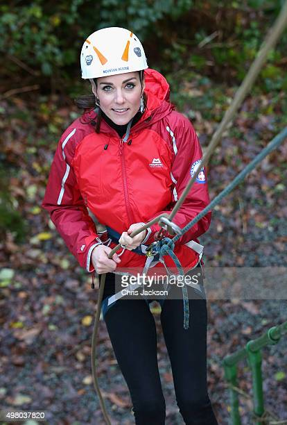 Catherine Duchess of Cambridge abseils as she visits the Towers Residential Outdoor Education Centre on November 20 2015 in Capel Curig United...