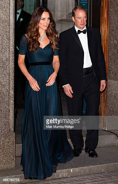 Catherine Duchess of Cambridge accompanied be her Police Protection Officer leaves after attending The Portrait Gala 2014 Collecting to Inspire at...