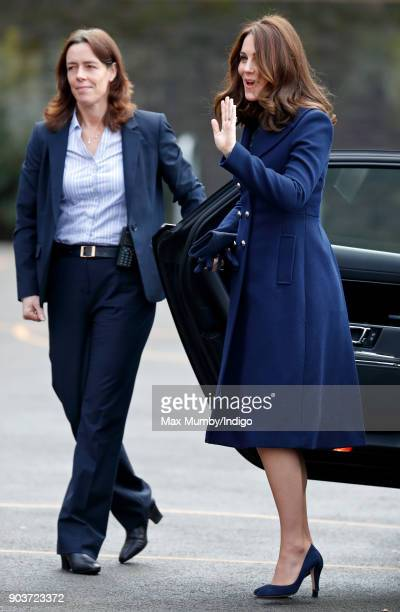 Catherine Duchess of Cambridge accompanied by her police protection officer Emma Probert visits the Reach Academy with Place2Be on January 10 2018 in...