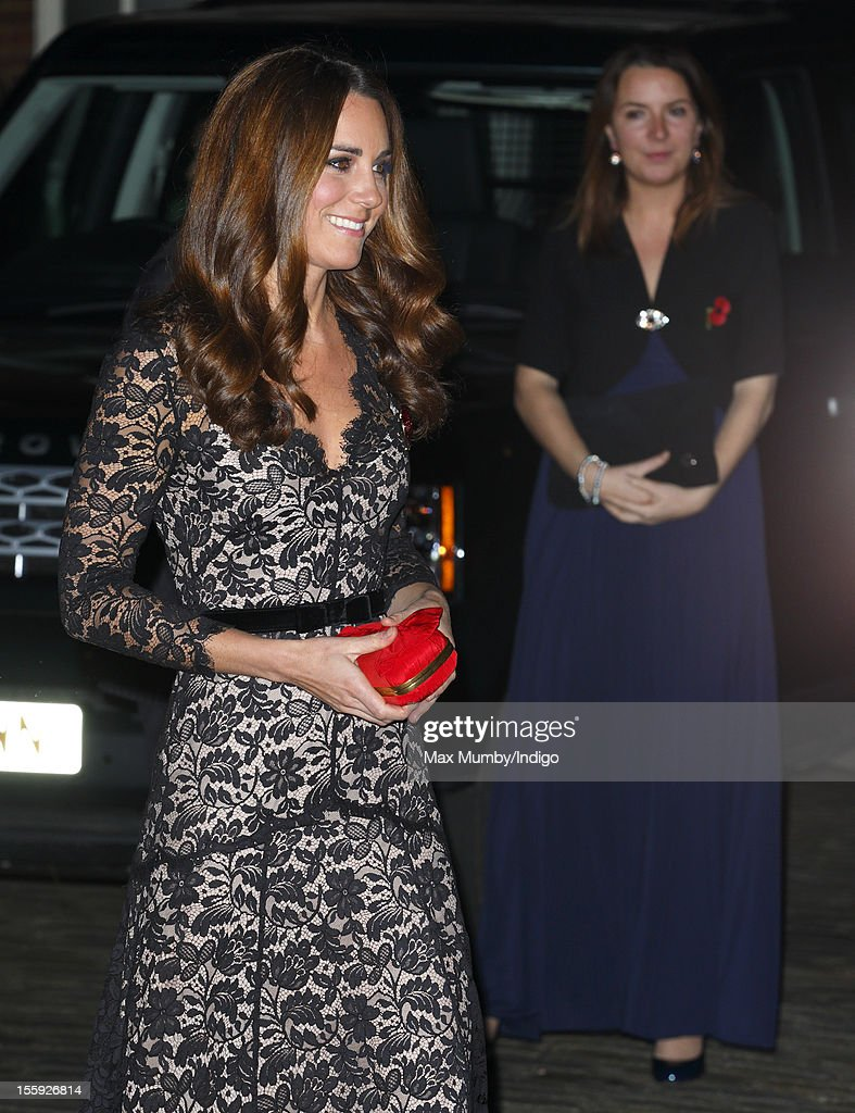 Catherine, Duchess of Cambridge accompanied by her Private Secretary Rebecca Deacon (r) attends a gala dinner in aid of the University of St. Andrews 600th Anniversary Campaign at Middle Temple Hall on November 08, 2012 in London, England.