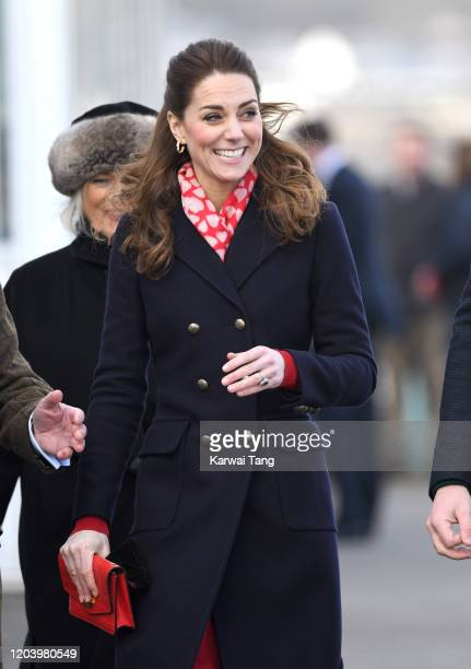 Catherine Duchess of Cambridge accompanied by Prince William Duke of Cambridge visits the Royal National Lifeboat Institution Mumbles Lifeboat...
