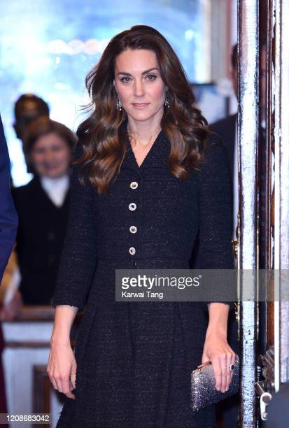 "Catherine, Duchess of Cambridge accompanied by Prince William, Duke of Cambridge attends a charity performance of ""Dear Evan Hansen"" in aid of The..."