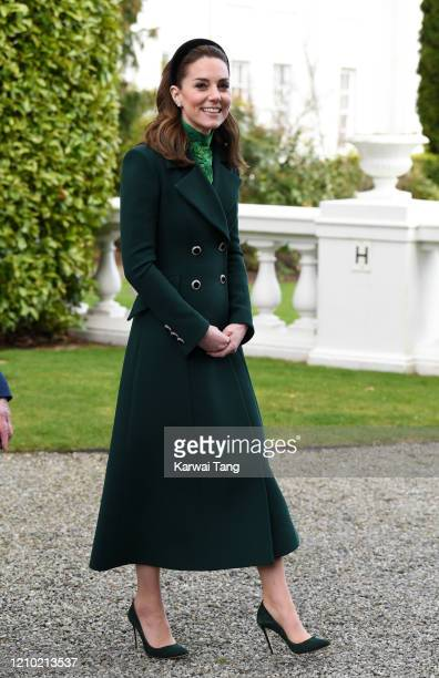 Catherine Duchess of Cambridge accompanied by Prince William Duke of Cambridge meets Ireland's President Michael D Higgins and his wife Sabina...