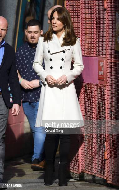 Catherine, Duchess of Cambridge accompanied by Prince William, Duke of Cambridge visits the mental health charity Jigsaw on day two of their Royal...