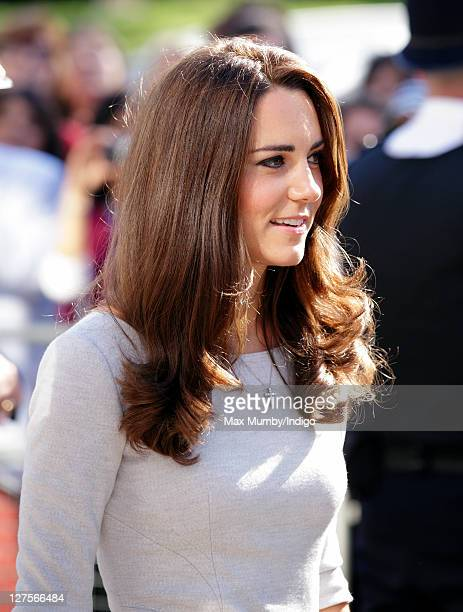 Catherine Duchess of Cambridge accompanied by Prince William Duke of Cambridge arrives at the Royal Marsden Hospital to open the new Oak Centre for...