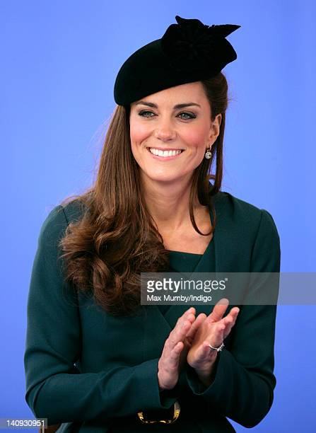 Catherine, Duchess of Cambridge accompanies Queen Elizabeth II and Prince Philip, Duke of Edinburgh on a visit to Leicester on the first date of...