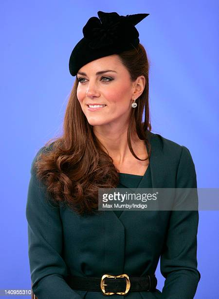 Catherine Duchess of Cambridge accompanies Queen Elizabeth II and Prince Philip, Duke of Edinburgh on a visit to Leicester on the first date of Queen...