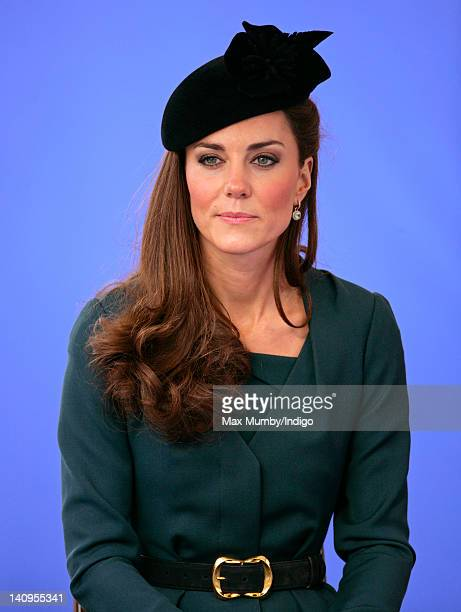Catherine Duchess of Cambridge accompanies Queen Elizabeth II and Prince Philip Duke of Edinburgh on a visit to Leicester on the first date of Queen...