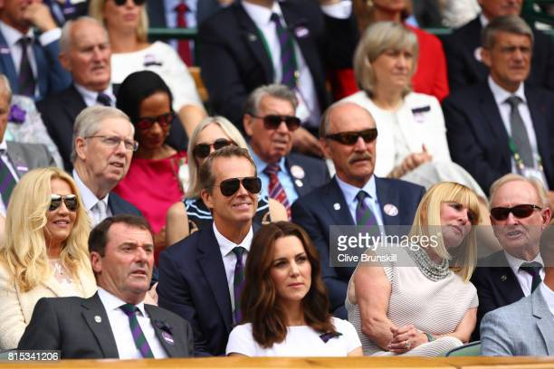 Catherine Duchess of Cambridge AELTC Chairman Philip Brook and Stefan Edberg look on from the centre court royal box prior to the Gentlemen's Singles...