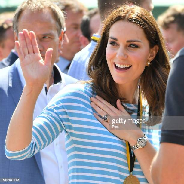Catherine Duchess of Cambridge after competing against Prince William Duke of Cambridge as they cox rowing boats in a friendly race between the...