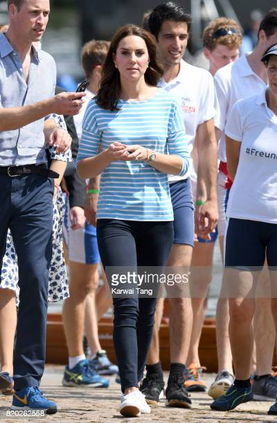 Catherine, Duchess of Cambridge after participating in a rowing race between the twinned town of Cambridge and Heidelberg on day 2 of their official...