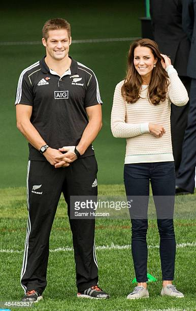 Catherine, Duchess of Cambridge and All Blacks captain Richie McCaw attend a young players' Rugby tournament at Forsyth Barr Stadium on April 13,...