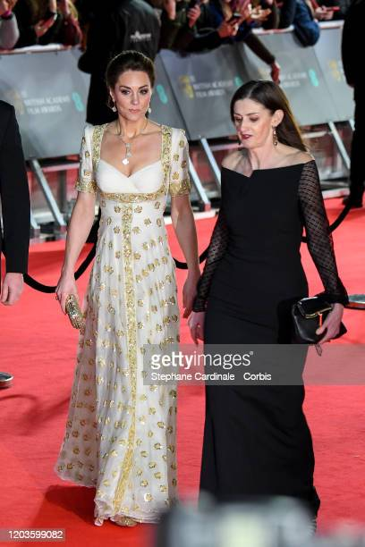 Catherine Duchess of Cambridge and Amanda Berry attend the EE British Academy Film Awards 2020 at Royal Albert Hall on February 02 2020 in London...