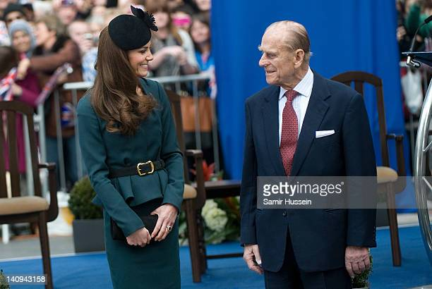 Catherine Duchess of Cambridge and and Prince Philip Duke of Edinburgh during their visit to Leicester on March 8 2012 in Leicester England The royal...