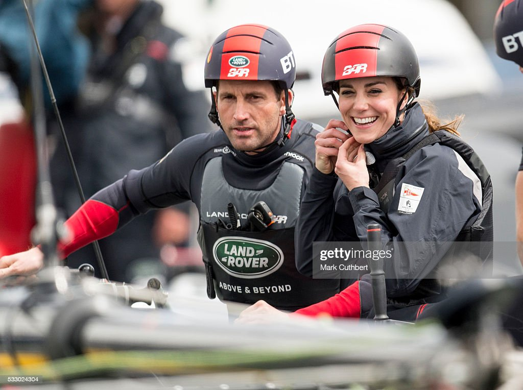Catherine, Duchess of Cambridge and Ben Ainslie join the Land Rover BAR team on board their training boat, as they run a training circuit on the Solent on May 20, 2016 in Portsmouth, England.