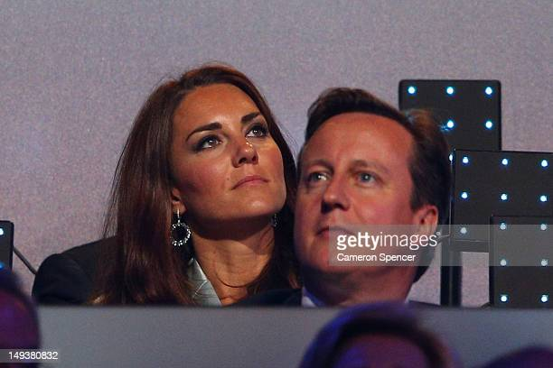Catherine Duchess of Cambridge and British Prime Minister David Cameron look on during the Opening Ceremony of the London 2012 Olympic Games at the...