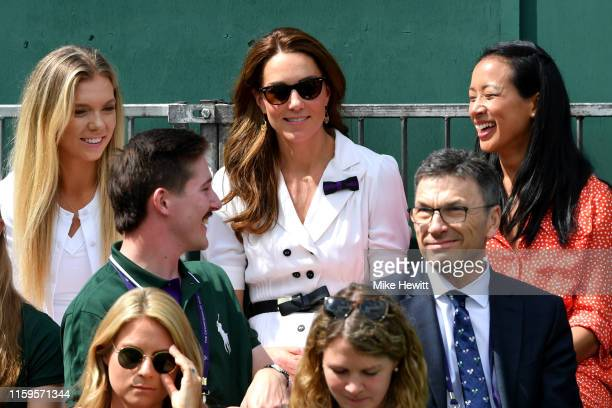 Catherine Duchess of Cambridge and British tennis player Katie Boulter attend Day two of The Championships Wimbledon 2019 at All England Lawn Tennis...