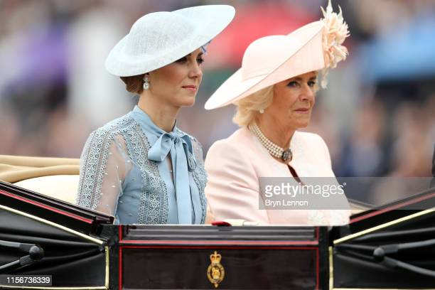 Catherine, Duchess of Cambridge and Camilla, Duchess of Cornwall arrive on day one of Royal Ascot at Ascot Racecourse on June 18, 2019 in Ascot,...