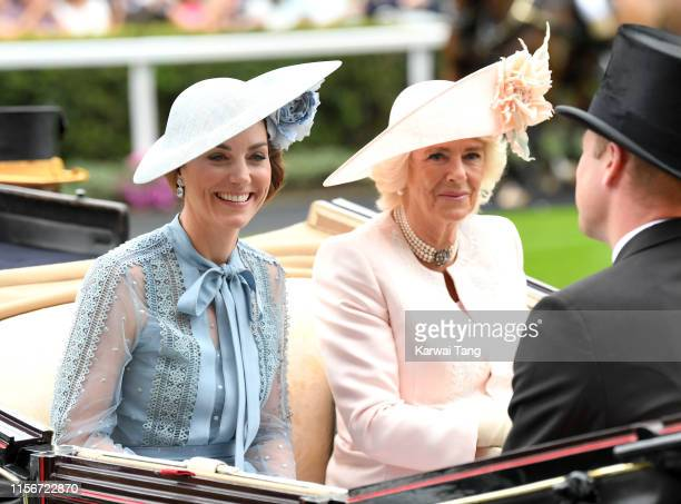 Catherine Duchess of Cambridge and Camilla Duchess of Cornwall attend day one of Royal Ascot at Ascot Racecourse on June 18 2019 in Ascot England