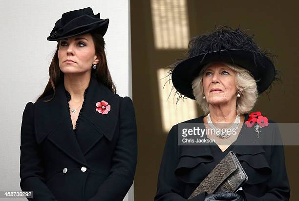 Catherine Duchess of Cambridge and Camilla Duchess of Cornwall attend the annual Remembrance Sunday Service at the Cenotaph on Whitehall on November...