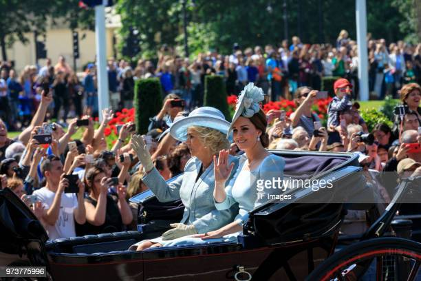 Catherine Duchess of Cambridge and Camilla Duchess of Cornwall attend the celebration of the Queen's birthday called Trooping The Colour on June 9...
