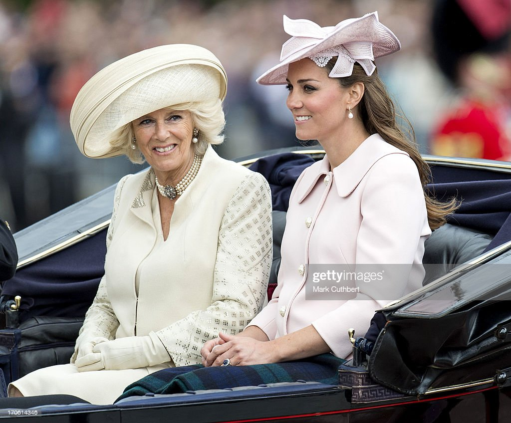 Catherine, Duchess of Cambridge and Camilla, Duchess of Cornwall during the annual Trooping The Colour ceremony at Horse Guards Parade on June 15, 2013 in London, England.