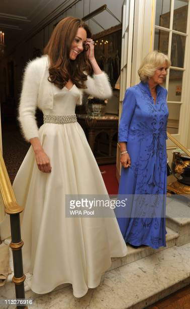Catherine, Duchess of Cambridge and Camilla, Duchess of Cornwall leave Clarence House to travel to Buckingham Palace for the evening celebrations...