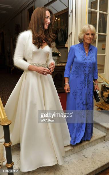 Catherine Duchess of Cambridge and Camilla Duchess of Cornwall leave Clarence House to travel to Buckingham Palace for the evening celebrations...