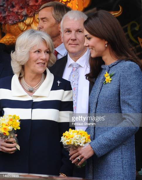 Catherine Duchess Of Cambridge and Camilla Duchess Of Cornwall visit the department store Fortnum Mason on March 1 2012 in London England