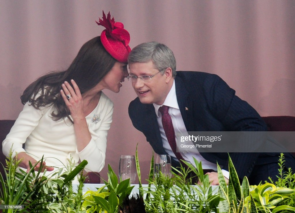 Catherine, Duchess of Cambridge and Canadian Prime Minister Stephen Harper arrive at Parliament Hill for Canada Day Noon Show Celebrations on July 1, 2011 in Ottawa, Canada.