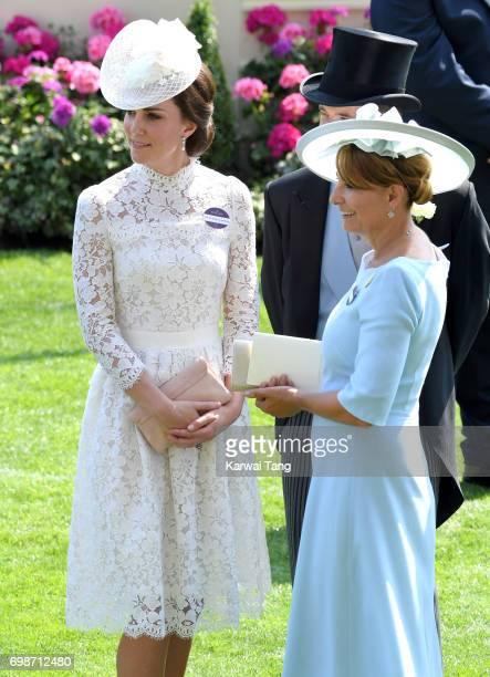 Catherine Duchess of Cambridge and Carole Middleton attend Royal Ascot 2017 at Ascot Racecourse on June 20 2017 in Ascot England