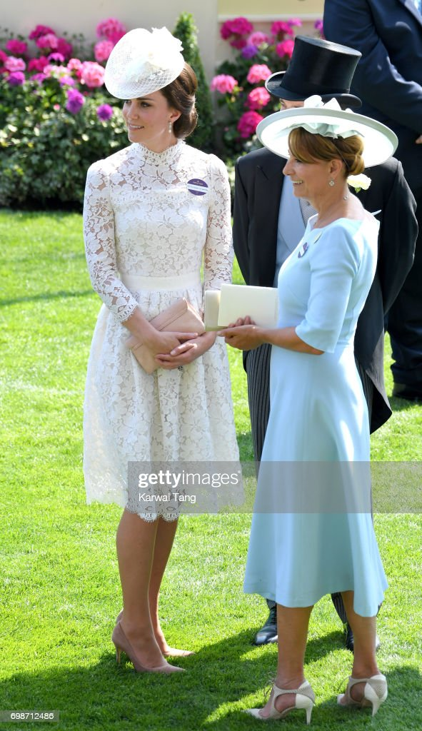Catherine, Duchess of Cambridge and Carole Middleton attend Royal Ascot 2017 at Ascot Racecourse on June 20, 2017 in Ascot, England.