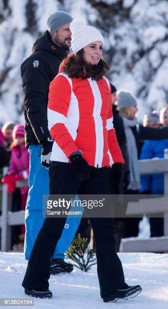 Catherine Duchess of Cambridge and Crown Prince Haakon of Norway attend an event organised by the Norwegian Ski Federation where they join local...