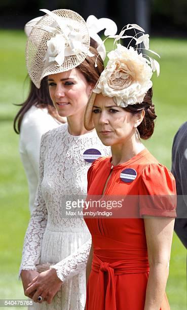 Catherine Duchess of Cambridge and Crown Princess Mary of Denmark attend day 2 of Royal Ascot at Ascot Racecourse on June 15 2016 in Ascot England