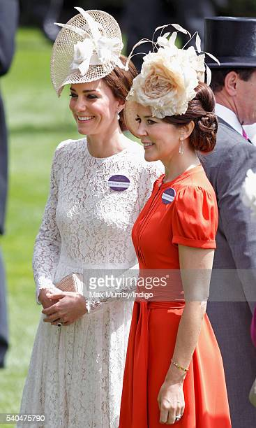 Catherine, Duchess of Cambridge and Crown Princess Mary of Denmark attend day 2 of Royal Ascot at Ascot Racecourse on June 15, 2016 in Ascot, England.