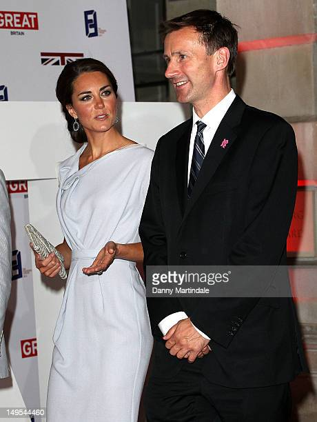 Catherine Duchess of Cambridge and Culture Secretary Jeremy Hunt MP attend the UK's Creative Industries Reception at Royal Academy of Arts on July 30...
