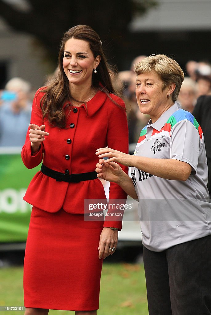 Catherine, Duchess of Cambridge and Debbie Hockley, ICC Hall of Fame react to Prince William, Duke of Cambridge batting during a game of cricket during the countdown to the 2015 ICC Cricket World Cup at Latimer Square on April 14, 2014 in Christchurch, New Zealand. The Royal couple are currently in New Zealand and touring the country until Wednesday, when they then head to Australia.