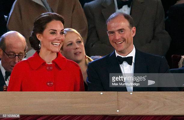 Catherine, Duchess of Cambridge and Donatus, Prince and Landgrave of Hesse attend the final night of The Queen's 90th Birthday Celebrations being...