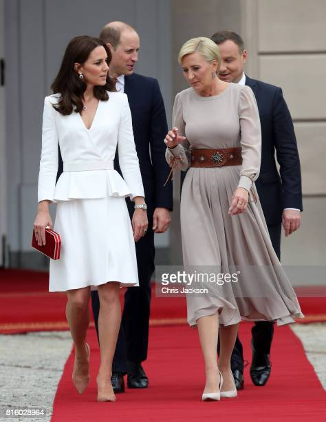 Catherine Duchess of Cambridge and First Lady Agata KornhauserDuda during a visit with Prince William Duke of Cambridge to the Presidential Palace on...