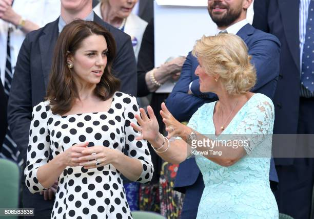 Catherine Duchess of Cambridge and Gill Brook attend day one of the Wimbledon Tennis Championships at Wimbledon on July 3 2017 in London United...