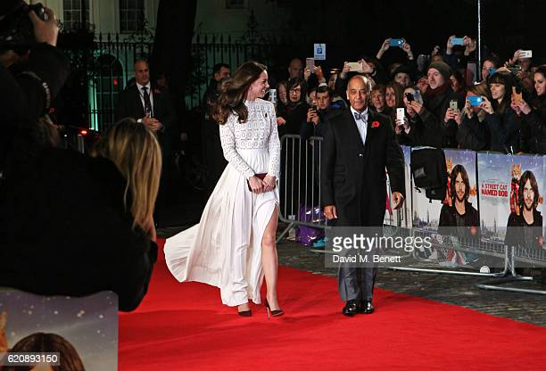 Catherine Duchess of Cambridge and guest attend the UK Premiere of A Street Cat Named Bob in aid of Action On Addiction at The Curzon Mayfair on...