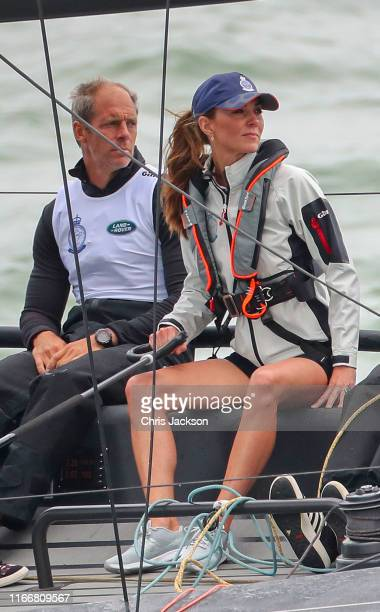 Catherine Duchess of Cambridge and her crew competing on behalf of The Royal Foundation in the inaugural King's Cup regatta hosted by the Duke and...