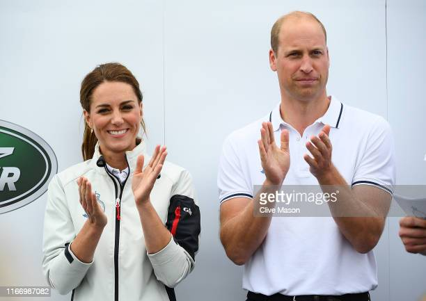 Catherine, Duchess of Cambridge and her husband Prince William, Duke of Cambridge competing on behalf of The Royal Foundation at the inaugural King's...