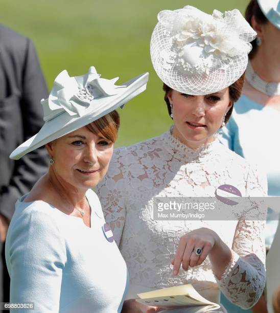 Catherine Duchess of Cambridge and her mother Carole Middleton attend day 1 of Royal Ascot at Ascot Racecourse on June 20 2017 in Ascot England