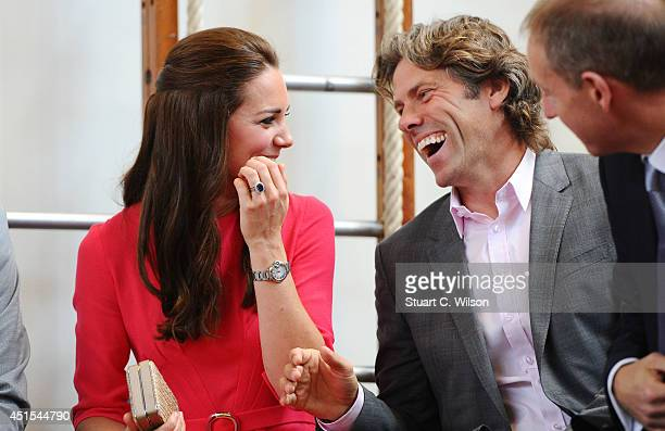 Catherine Duchess of Cambridge and John Bishop visit an MPACT Plus Counselling programme at Blessed Sacrament School on July 1 2014 in London England